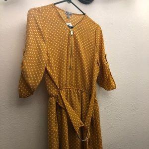 Yellow dress poka dot